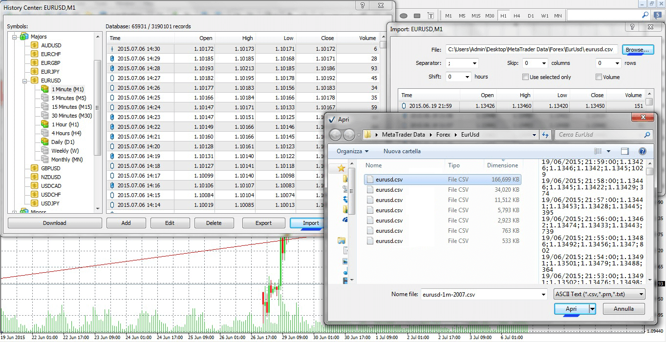 How to import data in Metatrader (MT4 - MT5)