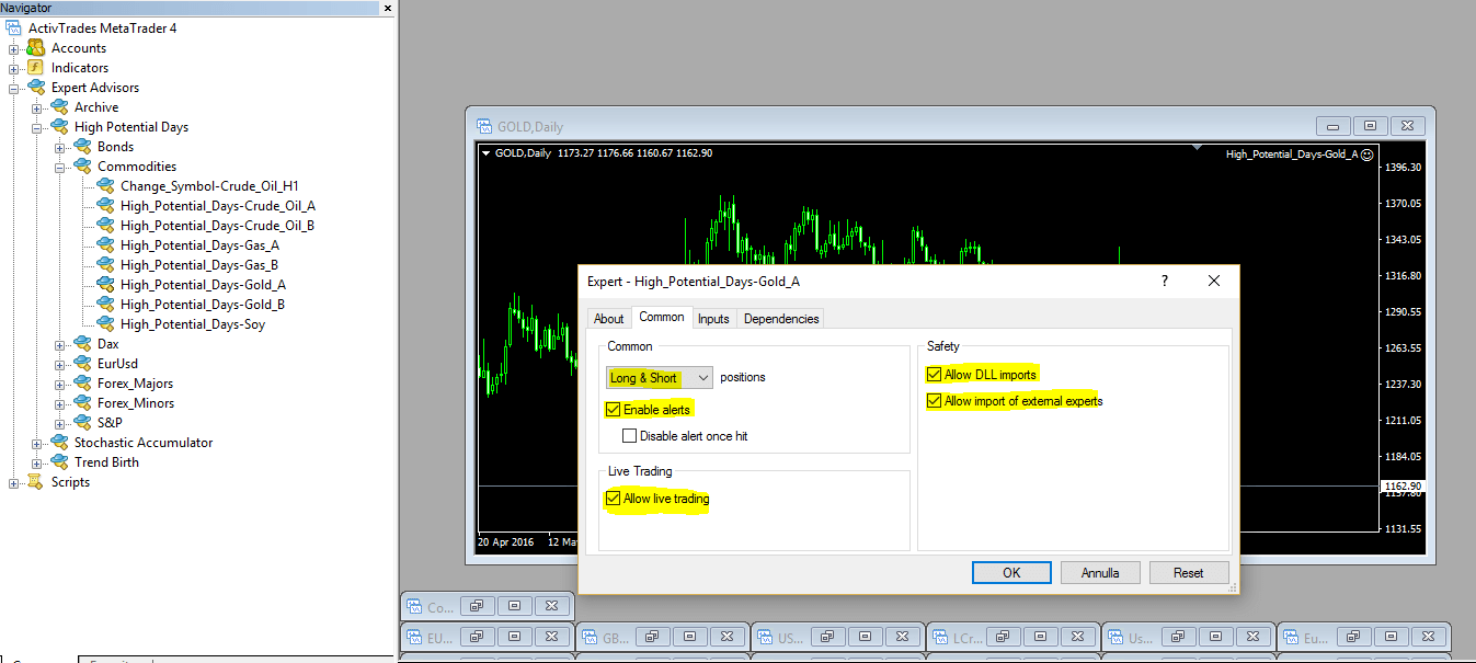EA common options for Metatrader