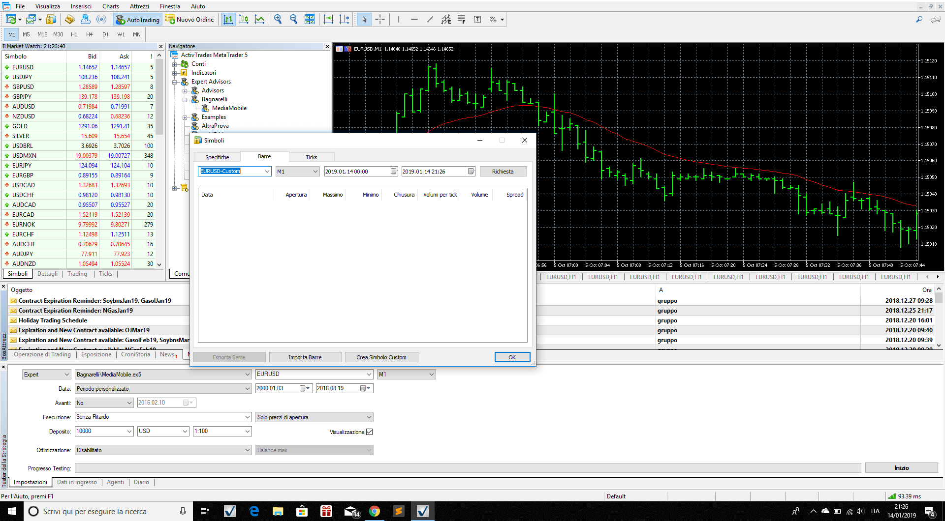Bars to import 1 minute data
